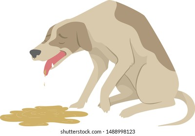 Illustration of a Sick and Dying Pet Dog and Vomiting