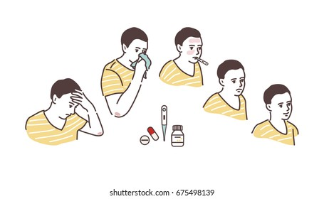 Illustration of a sickly condition: headache, high body temperature, runny nose. Cold symptoms. Recovery.