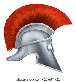 Illustration of side on Spartan helmet or Trojan helmet also called a Corinthian helmet. Versions also used by the Romans.