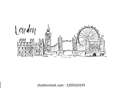 Illustration of the sights of London.