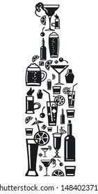 illustration of the sign of the alcohol bar drinks and beverages
