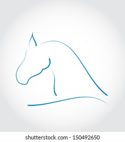 Illustration sign horse isolated on white background - vector