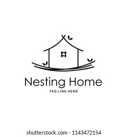 Illustration sign of the house built on the bird nest signifies a quiet and comfortable home inhabited logo design.