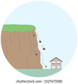 Illustration of a sign of landslide, with pebbles falling from a cliff.