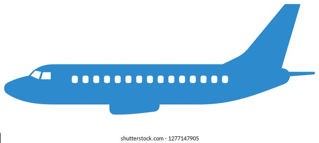 Illustration of the silhouette aeroplane side view