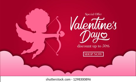 Illustration of silhouette baby cupid angel flying with arrow and bow paper craft style with red background for valentine's day greeting card.