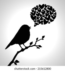 Illustration with silhouette of bird in love