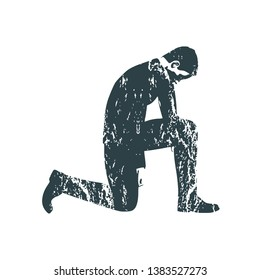 Illustration of silhouette of businessman stand to kneel. Grunge texture