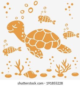 illustration silhouette cartoon cute and funny turtle and fish
