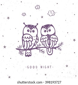 illustration silhouette cartoon cute and funny owls sitting on a branch