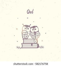 illustration silhouette cartoon cute and funny owls sitting on a book