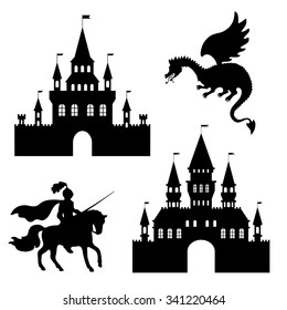 illustration silhouette of a castle, a knight and a dragon, vector, art, design element, abstract