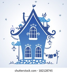 illustration silhouette creative fairytale hut
