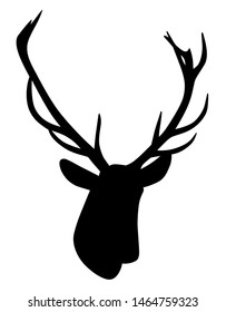 Illustration silhouette of a deer head