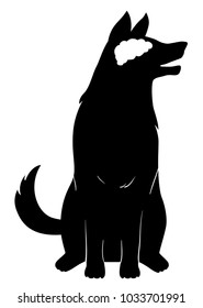 Illustration of a Silhouette of a Dog with Its Brain in White