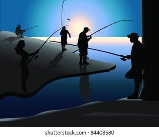 illustration of silhouette of fishermen at sunset-vector