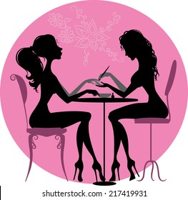 Illustration of silhouette of a girl who makes a manicure at the beauty salon