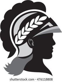 Illustration of a silhouette of Minerva or Menrva, the Roman goddess of wisdom and sponsor of arts, trade, and strategy wearing helmet and laurel crown viewed from side done in retro style.