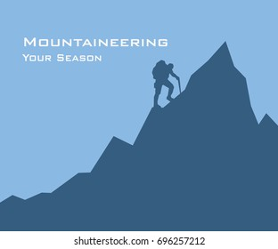 illustration of a silhouette mountaineer, Man climbs a mountain