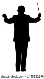Illustration silhouette of a music conductor
