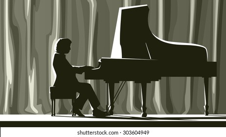 Illustration of silhouette pianist in concert hall in spotlight.