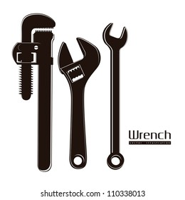 Illustration of silhouette of pipe wrenches, vector illustration