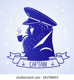 illustration silhouette portrait character of the ship's captain
