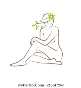 Illustration of a silhouette of a seated woman with leaves