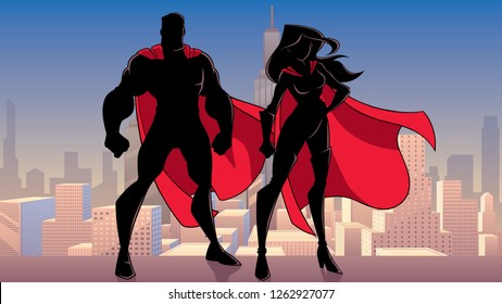 Illustration of silhouette superhero couple, standing tall on rooftop above city.