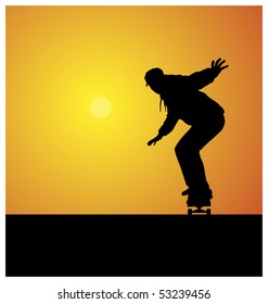 Illustration of a silhouette of a teenager. He rides on a skateboard. In the background the sun shines brightly.