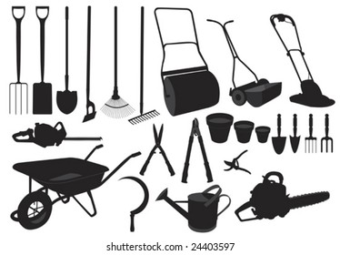 Illustration in silhouette of various garden tools