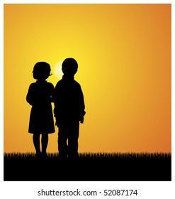 Illustration with silhouettes of children. Boy and girl standing on the grass. Above them shines the bright sun.