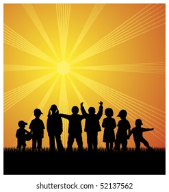 Illustration with silhouettes of children. Eight children have been on the grass. Above them shines the bright sun.