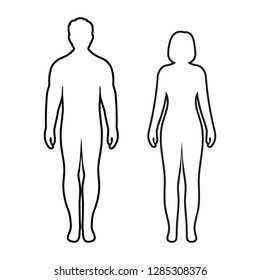 illustration of the silhouettes of the contours of men and women on a white background