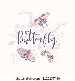 Illustration with silhouettes of flowers, inscription and butterflies.Vector