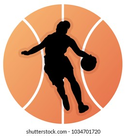 Illustration of silhouettes of girl playing basketball. Vector of woman playing basketball.