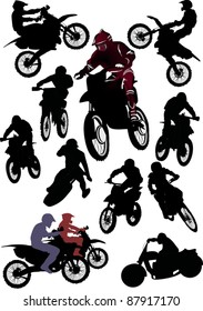 illustration with silhouettes of man on motorcycle isolated on white