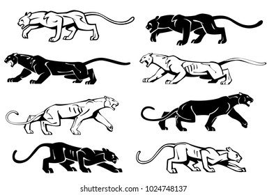 Illustration of silhouettes of a panther in profile. Vector set.