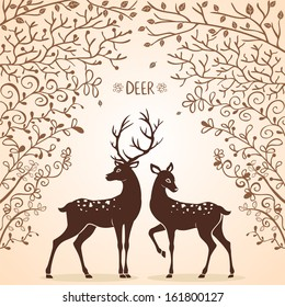 illustration silhouettes of two beautiful deer