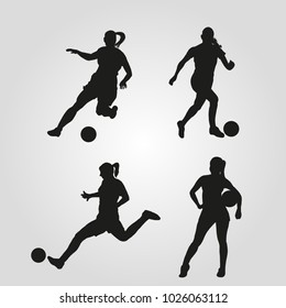 Illustration of silhouettes of women playing soccer. Vector of men playing football.