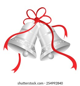 Illustration of silver bells with red ribbon bow isolated on white background