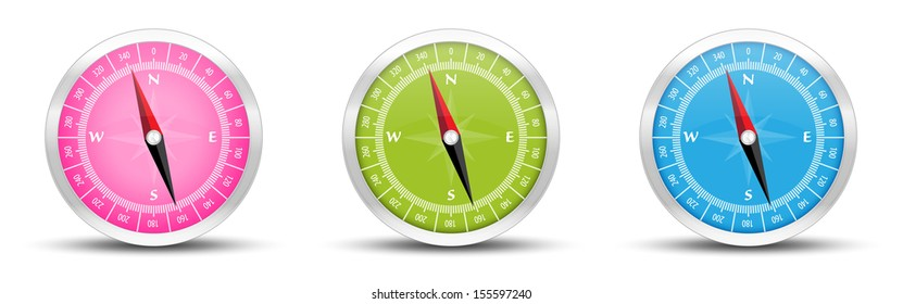 The illustration of silver compass icon with pink, green and blue face / The set of three compasses / The compass