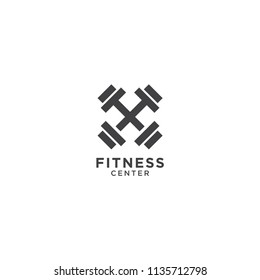 Illustration of simple fitness logo design template