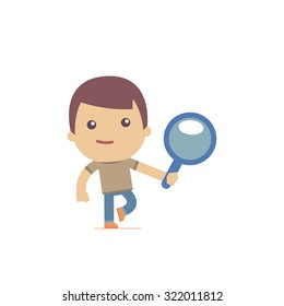 illustration of a simple flat style funny casual character in different situation
