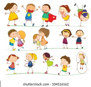 Illustration of simple kids playing