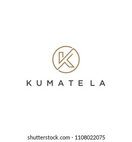 Illustration Simple modern unique clean K with circle sign line art logo design inspiration