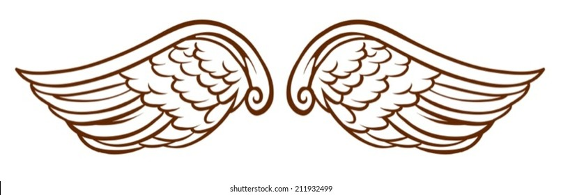 Illustration of a simple sketch of an angel's wings on a white background