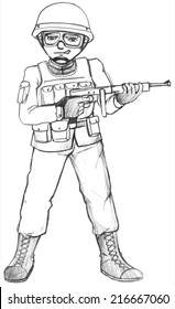 Illustration of a simple sketch of a soldier on a white background