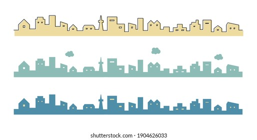 Illustration of simple townscape and cityscape