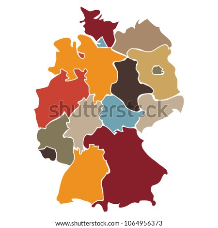 Map Of States In Germany.Illustration Simplified Map States Germany Stock Vector Royalty